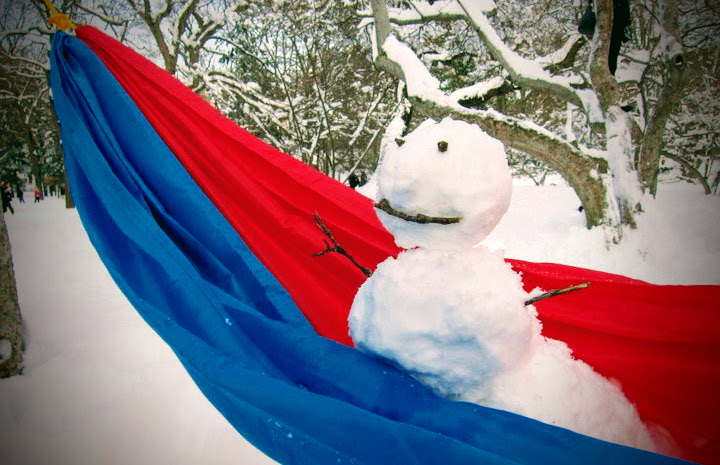 Snowman in a hammock